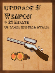 weapon upgrade card (+ 25HP unlocks special attack) WIP