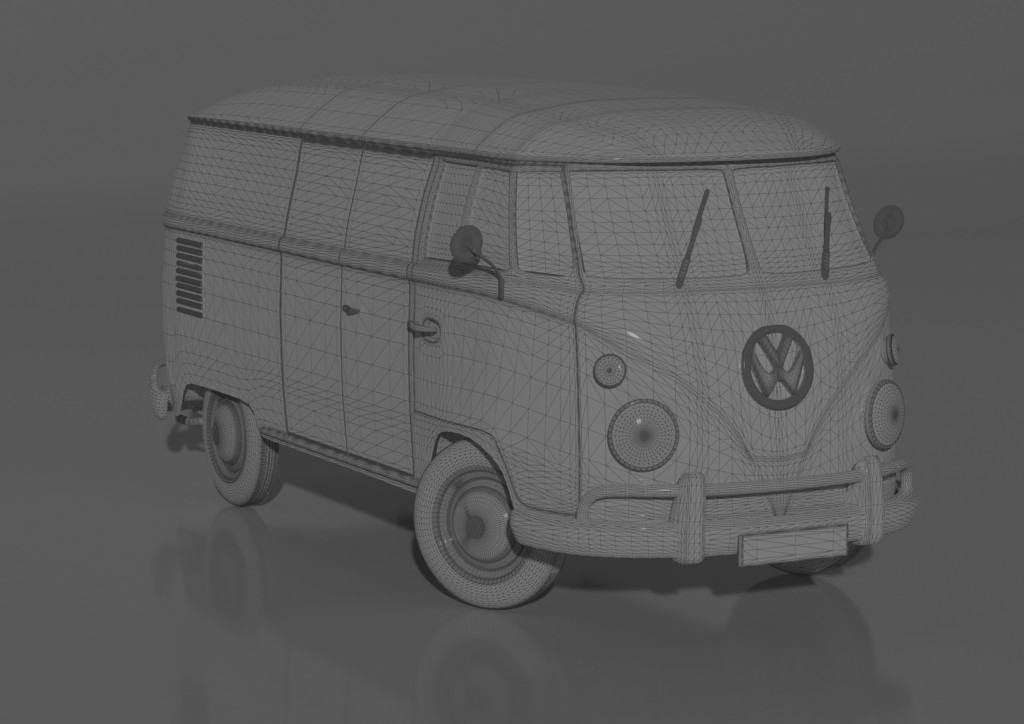 Wireframe VW t1 transporter